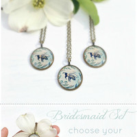 BRIDESMAID SET / Unique Bridesmaid Gifts / Handmade Illustrated Necklaces / Wedding Jewelry / Bride Gift