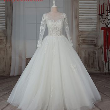 2017 hot sale high quality lace sexy transparent top Wedding Dress Bridal gown floor length wedding gown factory supplier