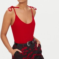 Red Rib Knit Tie Shoulder Bodysuit