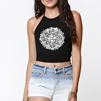 LA Hearts Mandala 2 Cropped Halter Tank Top - Womens Tee - Black