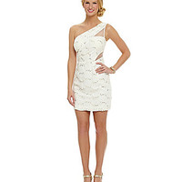 Hailey Logan One-Shoulder Lace Dress - Ivory