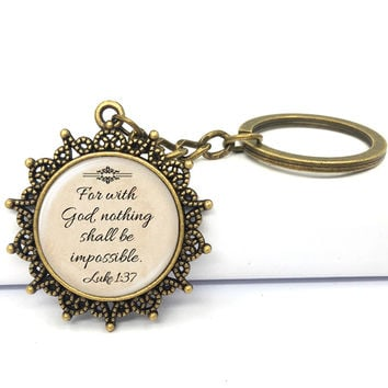 Fashion Jesus Jewelry Christian Key Chain Faith With God Nothing is Impossible Quote Jewelry Glass Saying Key Ring 2017 Gifts