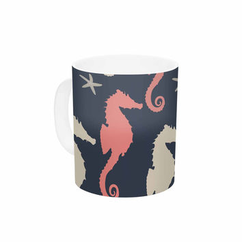 "afe images ""Gray and Coral Seahorses"" Coral Gray Digital Ceramic Coffee Mug"