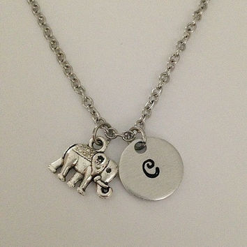 Personalized initial elephant necklace hand stamped jewelry charm necklace elephant pendant