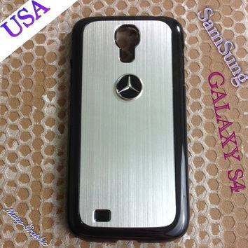 Mercedes Samsung Galaxy S4 Case Mercedes 3D metal Logo Premium Cover for S4 / i9500 - Silver