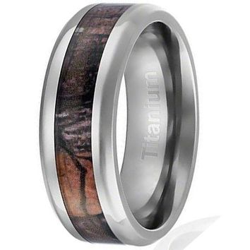 CERTIFIED 8MM Titanium Ring Wedding Band Camouflage Inlay Beveled Edges | FREE ENGRAVING