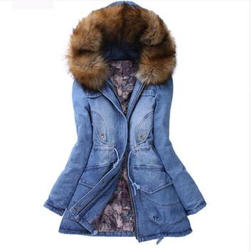 Winter Women Jacket 2016 Big Yards Long Thick Denim Cotton-padded Parka Casual Winter Coat Women Hooded Fur Collar Coat
