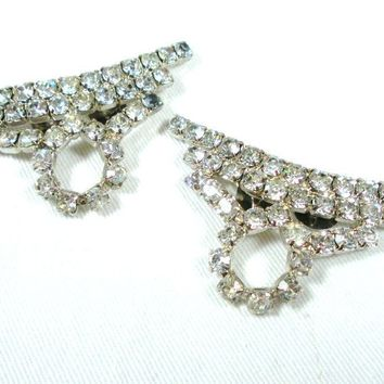 Rhinestone Vintage Shoe Clips Crystal & Rhodium Plating Accessory