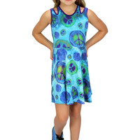 Blue Peace Sign Dress