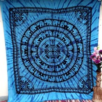 Blue Round Elephant Tapestry Mandala Bedspread Hippie Wall Decor Wall Hanging