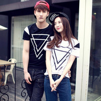 Fashion Lovers Clothes O Neck Short Sleeve T-shirts For Couples = 1930112772