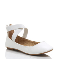 Faux-Leather-Crisscross-Ballet-Flats WHITE - GoJane.com