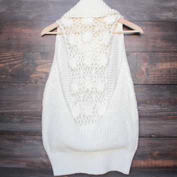 open knit oversized turtleneck sleeveless sweater  in cream