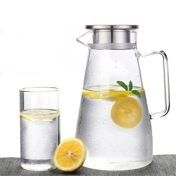 Glass Pitcher Jug Water Drinking Tea Pot Holder with Stainless Steel Lid Clear Water Bottle 1500ml Kitchen Accessories Drinkware