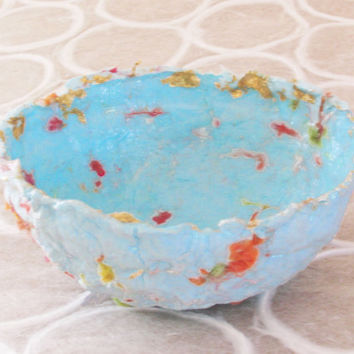 Pale Turquoise Paper Pulp Trinket Bowl with Gold Leaf and Yarn Fibers, Jewelry Bowl, Blue Bowl, Handmade Paper Bowl