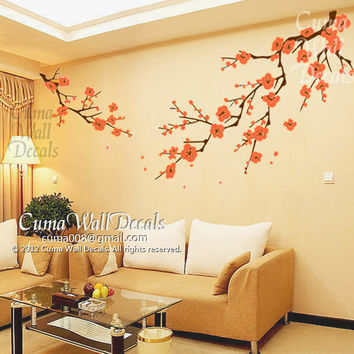 Cherry blossom wall decals orange flower vinyl mural nature wall sticker children decals nursery wall mural- white cherry blossom Z163 cuma