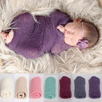 NewbornStretch Knit Swaddle Photography Prop - 8 colors