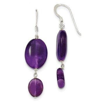 Sterling Silver Amethyst And Dark Purple Jade Earrings