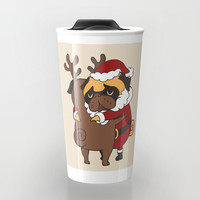 Pug Hugs Christmas Travel Mug by huebucket