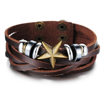 Fashion pentagram Retro new style adjustable the size Leather handchain