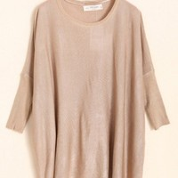 Loose Casual Euro Style Autumn New Fashion Knitting Sweater Women Khaki Cotton One Size@WH0061k $16.99 only in eFexcity.com.