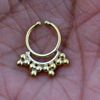 Septum, tribal brass septum,gold septum,Septum ring, indian septum, Fake Septum,gold septum,nose ring, nose stud
