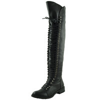 Womens Knee High Boots Lace Up Combat Casual Shoes black
