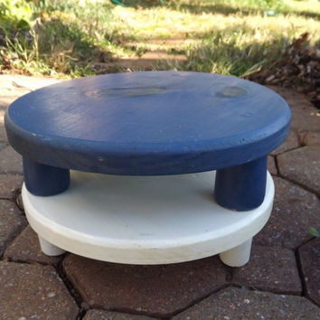 Wooden Plant Stand, Short Wood Plant Pot Riser, Painted Blue Stand, Primitive Handmade Round Legged Stool
