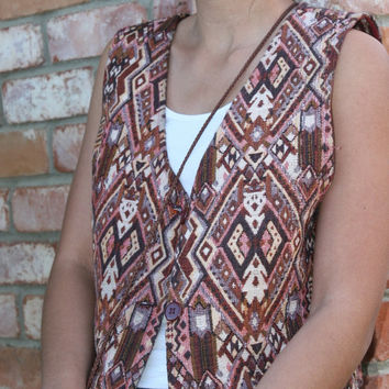 Indian 100% Cotton Aztec Pendleton Style Vest