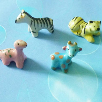 Miniature dinosour tiger zebra giraffe zoo set 4 pcs. Tiny ceramic animal figurines -dollhouse figures -miniature animal figure -1 12 scale