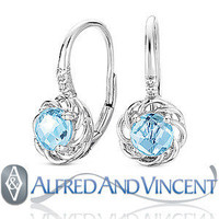 1.26ct Checkerboard Blue Topaz Diamond Leverback Dangling Earrings 14k Wht Gold