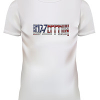 Unisex Led Zeppelin USA Flag White T Shirt Size S M L XL