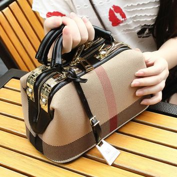 Plaid Canvas Doctor Bag Purse Big Capacity Women's Designer Hand Bags, 3 styles
