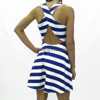 CROSS BACK CUT OUT Mini Dress Strappy Open Back Pin-Up Stripes TREND ALERT