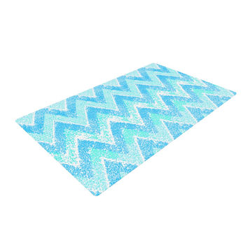 "Marianna Tankelevich ""Mint Snow Chevron"" Blue Chevron Woven Area Rug"