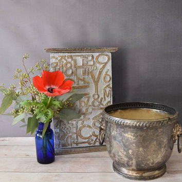 Towle Ice Bucket/ Lion Planter/ Towle Silverplate/ Trophy/ Rustic Silver Planter/ Vintage Planter/ Succulent Planter/ Silver Planter
