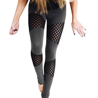 Women's Mesh Panels Stretchy Workout Gym Yoga Leggings Ninth Yoga Pants Running Pants Gifts 1STL ELY