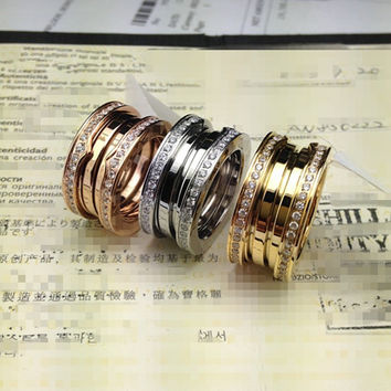 Shiny Gift Jewelry New Arrival Stretch Golden Titanium Diamonds Strong Character Stylish Ring [4919154884]