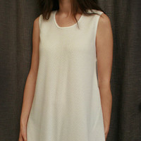 Sleeveless Short Nightgown Cotton/Poly Basket Weave Made In USA | Simple Pleasures, Inc.