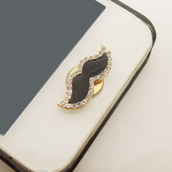 1PC Funny Bling Crystal Framed Mustache iPhone Home Button Sticker Charm for iPhone 4,4s,4g,5,5c Cell Phone Charm Gift for Him