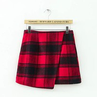 Womens Plaid Skirt - Unique Black Red Hues