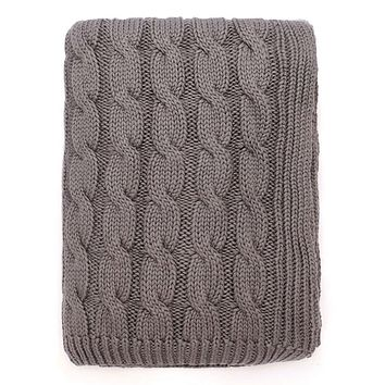 The Grey Large Cable Knit Throw