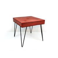 Mid century hairpin leg stool, Ottoman, Red & black