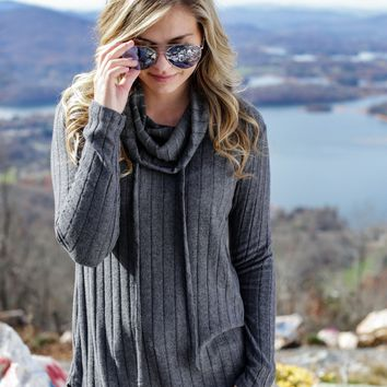 Shaul Cowl Neck Sweater, Charcoal
