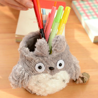 I46 Cute Kawaii Totoro Plush Pencil Holder Pen Box Case Storage Holder Decor Birthday Gift
