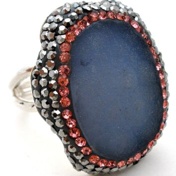 Amethyst Druzy Ring with Black & Pink Sapphires