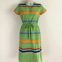 Vintage 1970s green and multicoloured striped sundress with tie waist and snap stud fasteners