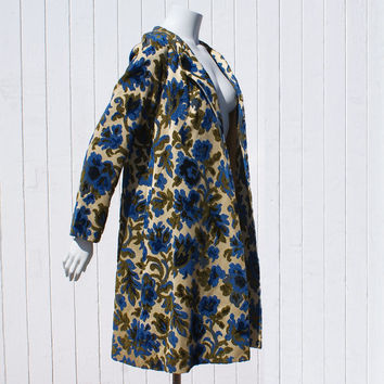 Vintage 1960's Coat * Tapestry * Carpet * Floral Blues, Greens and Lovely Gold Colors * Gorgeous Tent Jacket
