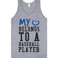 My heart belongs to a Baseball Player tank top t-shirt tee-Tank