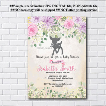 Deer baby shower invitation,  girl baby shower, Floral Baby Deer Shower, watercolor flower, Fawn baby shower or kids birthday - card 1089